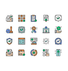 Set approve flat color line icons certificate vector
