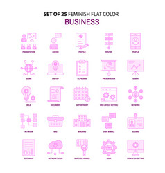 set of 25 feminish business flat color pink icon vector image