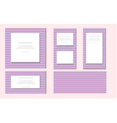 set of postcards in a horizontal strip of pink vector image