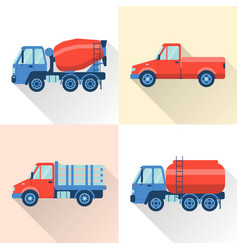 Set of truck icons in flat style with long shadow vector
