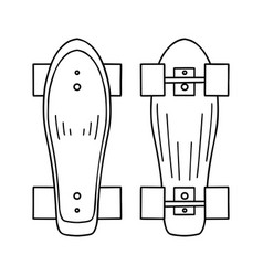 set outline a skateboard top vector image