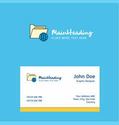 Shared folder logo design with business card vector