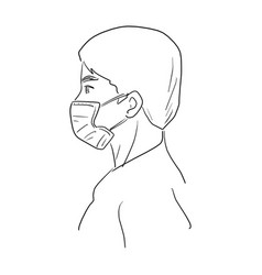 side view man wearing medical mask vector image