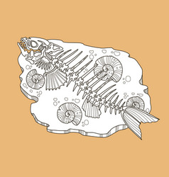 skeleton of fish fashion vector image