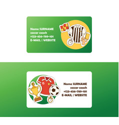 soccer football business card with soccerball and vector image