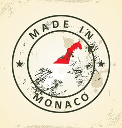 Stamp with map flag of Monaco vector