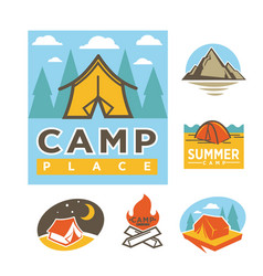 summer camp place promotional logotypes with tent vector image