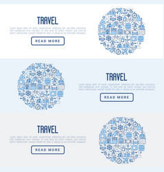 travel and vacation concept with thin line icons vector image