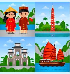 Travel to vietnam vietnamese people in national vector