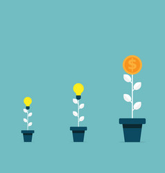 tree bulb idea growth to money tree business vector image