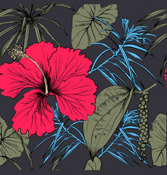 tropical exotic flowers and leaves seamless vector image