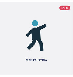 Two color man partying icon from people concept vector