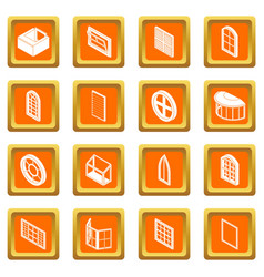 Window forms icons set orange square vector