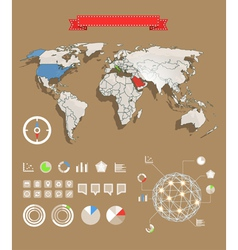 World map and different charts vector image vector image