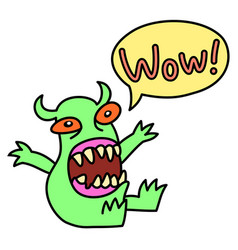 cartoon monster screaming wow speech bubble vector image vector image