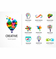 creative digital abstract colorful icons logos vector image vector image