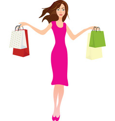 girl holding shopping bags vector image
