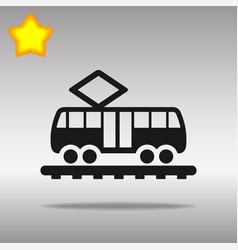 black tram icon button logo symbol concept high vector image vector image