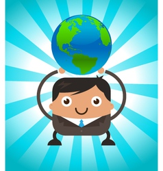 Business Man Holding Planet Earth vector image vector image