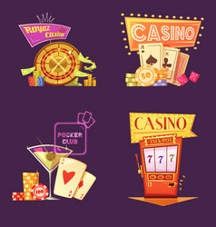 Casino Retro Cartoon 2x2 Icons Set vector image vector image