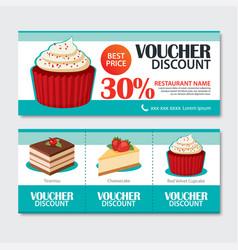 discount voucher set of dessert template design vector image vector image