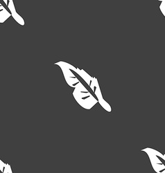 Feather icon sign Seamless pattern on a gray vector image vector image