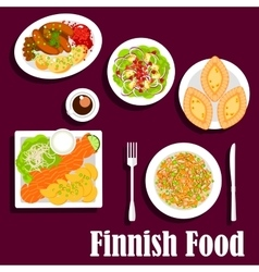 Fish and meat dishes of finnish cuisine flat icon vector image vector image