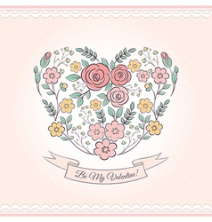 Floral graphic with heart vector image vector image