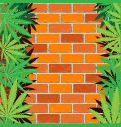 hemp and brick wall background vector image vector image