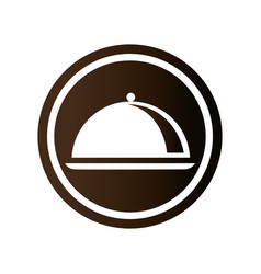 monochrome circular emblem with cloche icon vector image