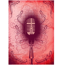 retro poster with a microphone and decorative elem vector image