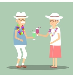 Senior Couple Drinking a Cocktail vector image vector image