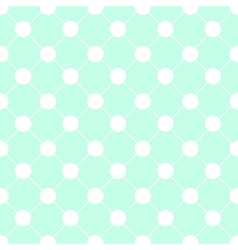 White Polka dot Chess Board Grid Green Mint vector image vector image