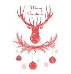 Deer head in wreath with christmas decorations vector
