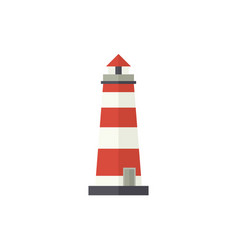 flat cartoon classic red and white lighthouse vector image