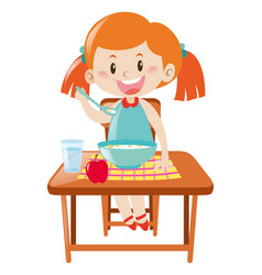 girl on dining table eating vector image