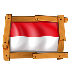 indonesia flag in wooden frame vector image