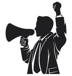 man speaking in megaphone vector image vector image
