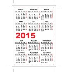 Pocket calendar 2015 vector image vector image