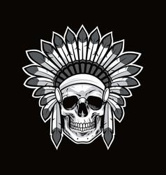 skull of native american indian warrior black vector image vector image