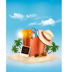Vacation concept Palm tree photos and a bag full vector image vector image