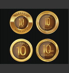 10 years warranty golden labels collection 5 vector image
