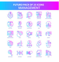 25 blue and pink futuro management icon pack vector