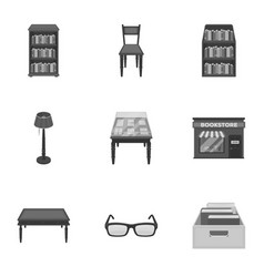 A set of icons with books seth about the library vector