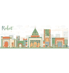 Abstract rabat skyline with color buildings vector