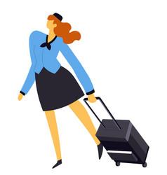 Air hostess or stewardess flight attendant vector