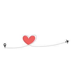 airplane flying dash line heart loop in sky vector image