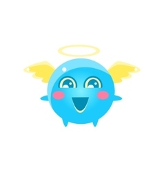 Angel Round Character Emoji vector image