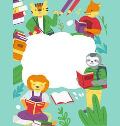 Animals and books cartoon schoolchildren studying vector