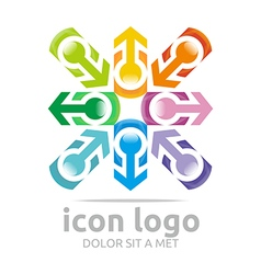 Arrow letter c colorful design symbol vector